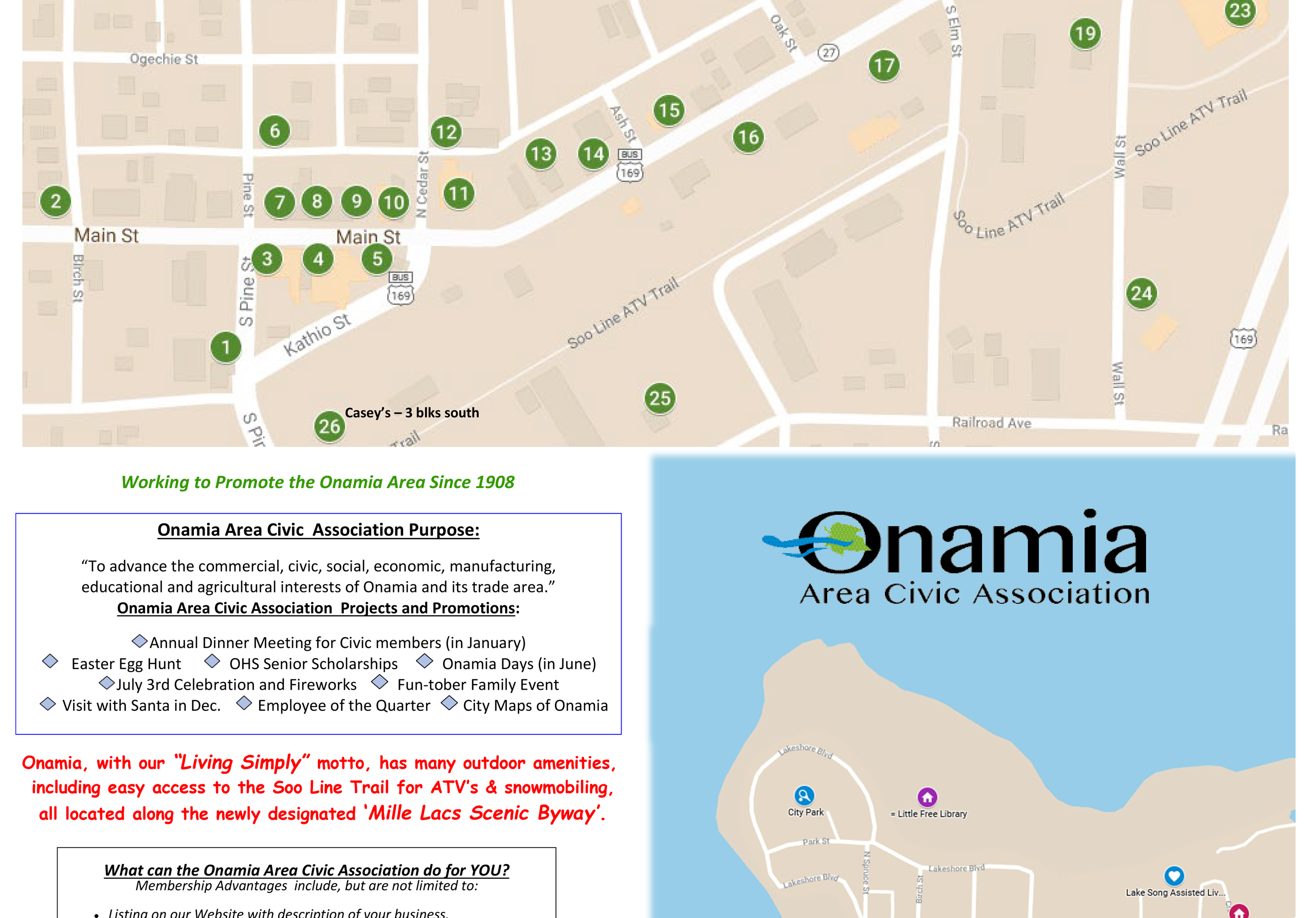 Onamia Main Street Businesses Map